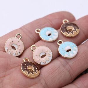 10Pc Enamel Doughnut Charm Pendant Jewelry Making Bracelet Earrings Accessories