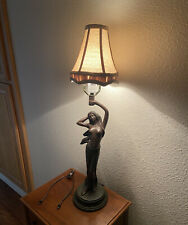 Rare Art Deco Modernistic Nude Lady Lamp with Shade And Accessories Estate Find