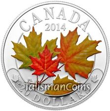 Canada 2014 Majestic Maple Leaves #2 SML $20 Pure Silver Color Maple Leaf