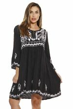 Riviera Sun 3/4 Sleeve Embroidered Button Front Tunic Dresses for Women