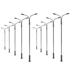 LQS13 10 Stk. Doppelpeitschenlampen LED 100mm H0 / 00 Straßenlampe flexible Höhe