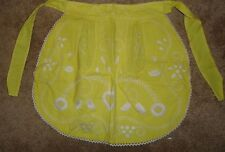 Vintage 50's/60's 1/2 Apron Yellow & White w/Embroidered design & 2 pockets