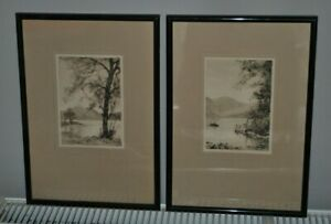 Two Original Pen & Ink signed by G H Downing 1878-1940 views at Hawes Water UK