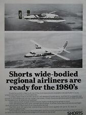 4/1982 PUB AVION SHORTS 330 360 OLYMPIC AIRWAYS ISLE OF PATMOS ORIGINAL AD