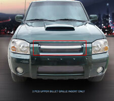 Polished Billet Grille Front Upper Grill  2 Pcs Fits 2001-2004 Nissan Frontier