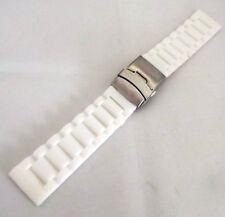 cinturino silicone bianco doppia chiusura sicurezza bottoni acciaio ansa 24 mm