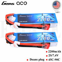 2X Gensace 2200mAh 45C 7.4V 2S Lipo Battery Deans Plug For Helicopter Plane Boat