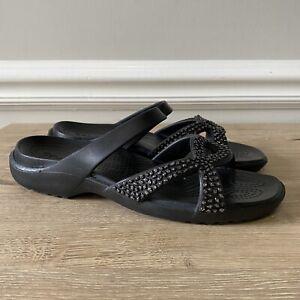 CROCS Meleen Twist Diamante Black Sandal Womens Slide Slip On Size 10