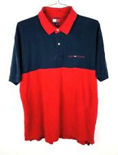 Tommy Hilfiger Polo Shirt Mens Size XL Red Blue Spell Out Short Sleeve Collared