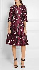 NWT Oscar de la Renta Pressed Flowers' Print Duchesse Silk Mikado Dress Size 12