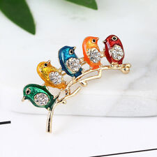 Elegant Rhinestone Bird Animal Enamel Brooch Pin Women Fashion Jewelry Gifts