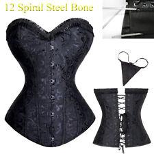 Womens Spiral Steel Boned Black Floral Brocade Bustier Top Lingerie Corset S-6XL