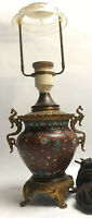 Antique Cloisonné Vase Converted Into Vase With Metal Base Top