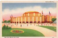Unused Postcard 1939 New York World's Fair Railroad Building