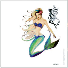 Unisex Blond Pinup Color Siren Greek Mermaid & Fairy Temporary Waterproof Tattoo
