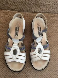 LADIES LOVELY LORETTA NATURAL ORTHOPEDIC COMFORT LEATHER SANDALS SIZE 7