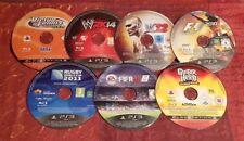 7x PS3 Juegos, Disco's Solo (w2k14 F1 w12) FIFA Rugby de tenis Gratis Reino Unido P&p