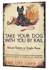Cartel de ferrocarril de tren perro Vintage Metal Sign Retro Estaño Placa Anuncio