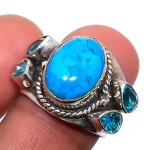 Turquoise & Blue Topaz Gemstone 925 Silver Handmade Jewelry Ring s.7 F2641