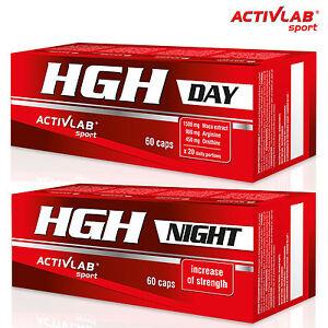 HGH DAY & NIGHT 60+60 Kapseln Wachstumshormon Testosteron Booster Anabol GABA
