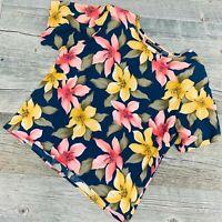 Sag Harbor Womens Floral Top Shirt Blouse Medium Short Sleeve