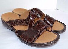 Clarks Slides Womens 6.5 M Brown Croco Leather Slip On Sandal Shoe Mule  80364
