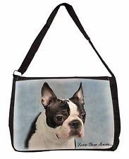 Boston Terrier Dog 'Love You Mum' Large Black Laptop Shoulder Bag S, AD-BT8lymSB