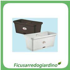 FIORIERA FIORIERE PER BALCONE IN PLASTICA CON RUOTE EFFETTO RATTAN Bianco 100346