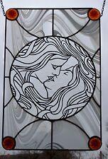 "Bleiverglasung Fensterbild Jugendstil- Glasmalerei ""Der Kuß"" in Tiffany"