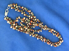 """Freshwater Pearl & Gemstone Necklace 18"""" Champagne/Bronze Pearl, Pink/Green Gems"""