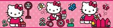 WORLD of HELLO KITTY 15' Wall Border Pink Room Cat Kitten Peel & Stick Wallpaper