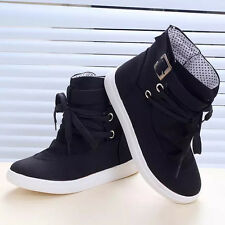 Winter Women's Ankle Boots Flats Buckle Lace-Up Canvas Casual Shoes Martin Boots