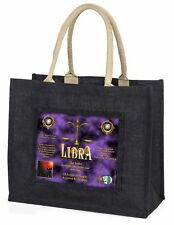 Libra Star Sign of the Zodiac Large Black Shopping Bag Christmas Prese, ZOD-7BLB
