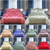 4 Piece Silk Bedding Set Jacquard Duvet Quilt Cover Double King Size Duvet Set