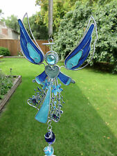 Blue Angel Wind Chimes Garden Yard Decor New Silver Metal Small Flowers New