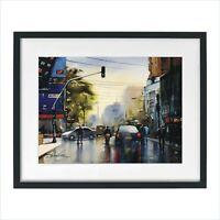 Lahore Pakistan Watercolor Painting Print Cityscape Landscape by Sarfraz Musawir