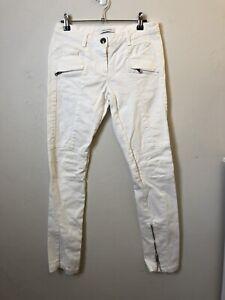 RRP$1100 Balmain Womens Size 27 White Moto Jeans Skinny Leg Zips