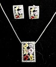 .925 Rhodium Plated Sterling Silver Gift Set Multi Stone CZ Earrings & Necklace