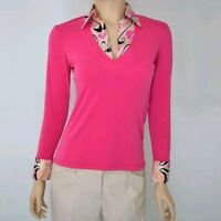 NWT Pink Polyester Spandex Long Sleeve V-Neck Pullover Shirt Blouse Top XS-S-M-L