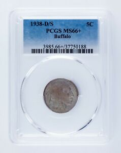 1938-D/S 5C Buffalo Nickel Graded by PCGS as MS-66+