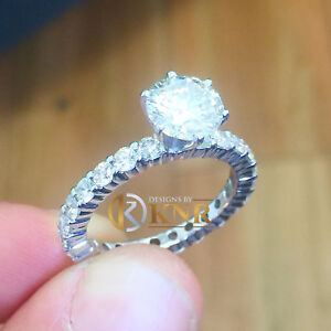 14k White Gold Round Cut Moissanite and Natural Diamond Engagement Ring 2.50ct