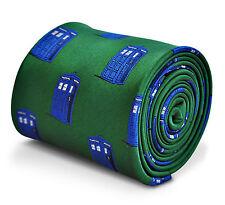 Cravatta da uomo verde con motivo Police Box Da Frederick Thomas Dr Who Tardis ft3227
