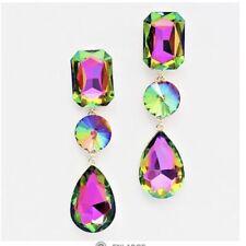 """3"""" Long Green Pink EmerAld Teardrop Vitrail Austrian Crystal Pageant Earrings"""