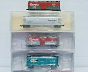 New York Central. Set of 4 N Scale Freight Cars. IMT, Atlas, Bowser.