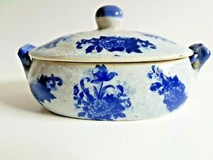 VINTAGE BLUE CHINTZ SMALL LIDDED CASSEROLE DISH -  (REPAIR)