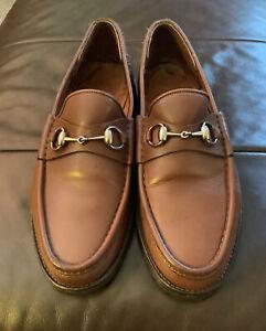 Gucci Mens Brown Leather Silver Horsebit Loafers Lug Sole Vibram 45EU 10UK 11US