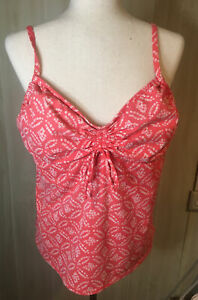 Lands End Plus 18 Coral Tankini Swim Top Built in Bra Adjustable Straps Rouched