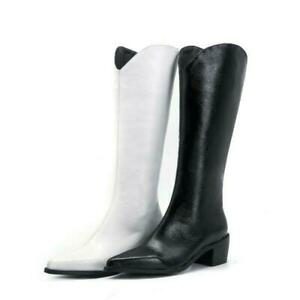 Women Western Leather Pointy Toe Chunky Heel Mid Calf Knee High Boots Shoes Lady