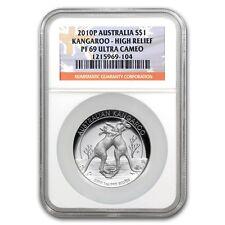 2010 Australia 1 oz Silver Kangaroo PF-69 NGC (High Relief) - SKU #67525