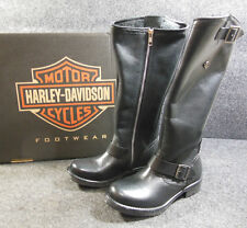 New Harley Cadena Ladies Black Zip Up Knee High Buckle Boots Sz 7.5 D83766 #C169